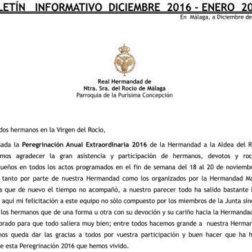 BOLETÍN INFORMATIVO DICIEMBRE 2016 – ENERO 2017