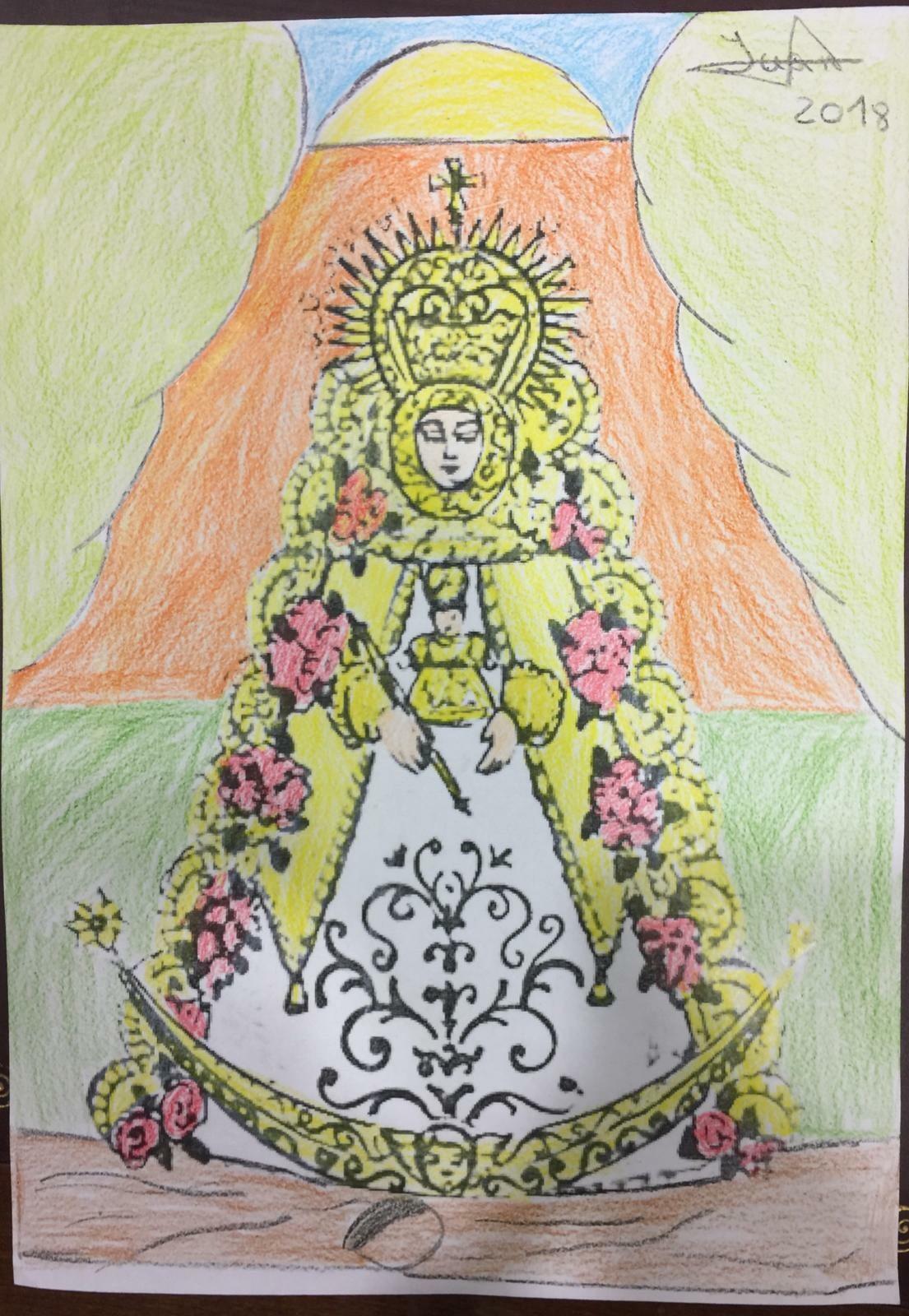 Dibujo infantil de la Virgen del Rocío - Real Hermandad de nuestra Señora del Rocío de Málaga